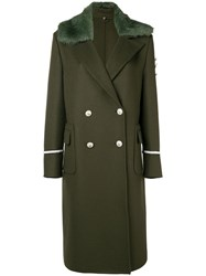 Ermanno Scervino Faux Fur Trim Double Breasted Coat Green