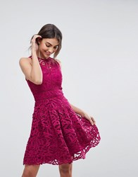 Adelyn Rae Dylan Lace Fit And Flare Dress Magenta Pink