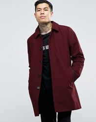 Asos Single Breasted Trench Coat With Shower Resistance In Burgundy Burgundy Red