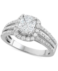 Macy's Diamond Pie Cut Engagement Ring 1 1 2 Ct. T.W. In 14K White Gold No Color