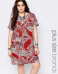 Alice And You Red Paisley Print Cap Sleeve Shift Dress Multi