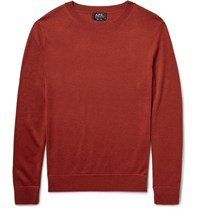A.P.C. Nick Merino Wool And Silk Blend Sweater Brick