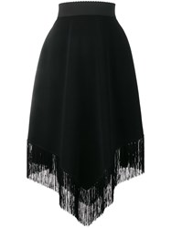 Dolce And Gabbana Fringe Hem Crepe Skirt Black