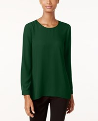 Vince Camuto Pleated Back High Low Blouse Forest Night