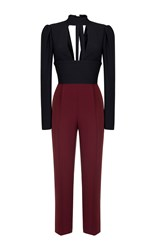 Rasario Long Sleeve Cut Out Front Jumpsuit Black
