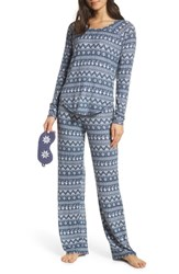 Make Model Knit Girlfriend Pajamas And Eye Mask Blue Shadow Ditsy Fairisle