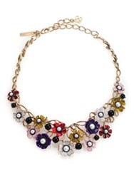 Oscar De La Renta Floral Resin And Faux Pearl Bib Necklace Gold Multi