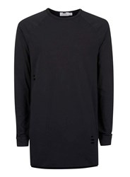 Topman Black Ripped Longline T Shirt