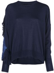 Nude Fringed Cut Out Jumper Blue