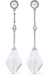 Ben Amun Silver Tone Faux Pearl Crystal And Bead Earrings Silver