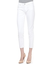 7 For All Mankind Kimmie Straight Leg Cropped Jeans Clean White