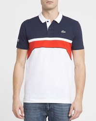 Lacoste White Red Navy Sport Polo Shirt Multicolour