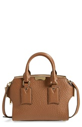 Burberry 'Small Clifton' Signature Grain Leather Satchel Sepia Brown Honey