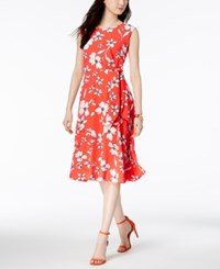 Jessica Howard Floral Print A Line Dress Orange