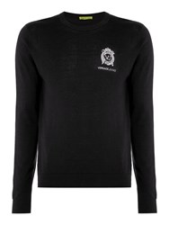 Versace Men's Embroidered Logo Crew Neck Knitted Jumper Black