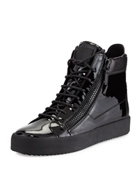 Giuseppe Zanotti Men's Patent Leather High Top Sneaker Black