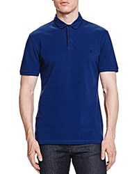 The Kooples Pique Fancy Leather Slim Fit Polo Blue