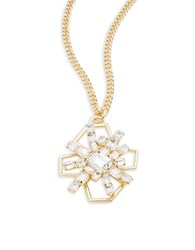 Rj Graziano Goldtone Faceted Crystal Starburst Pendant Necklace