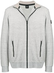 Hugo Boss Zipped Fitted Sweatshirt Grey