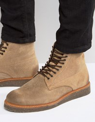 Asos Boots With Cork Sole In Stone Suede Stone