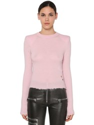 Unravel Padded Shoulders Raw Cut Sweater Pink