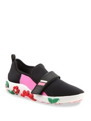 Prada Multicolor Flower Embellished Grip Tape Sneakers Nero Begonia