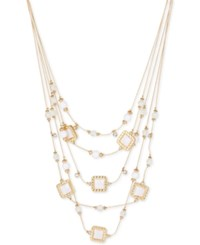 Inc International Concepts M. Haskell For Inc Gold Tone White Bead Multi Layer Illusion Necklace Only At Macy's