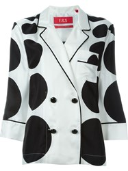 F.R.S. Sphere Print Double Breasted Two Piece Suit White
