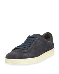 Tom Ford Russell Suede Low Top Sneaker Navy