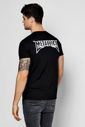 Boohoo Metallic Back Print Band Licence Tee Black