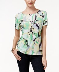 Jm Collection Textured Tee Water Floral Mint Green