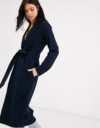 Y.A.S Long Line Belted Coat Navy