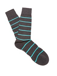 Pantherella Blavet Striped Cotton Blend Socks Charcoal