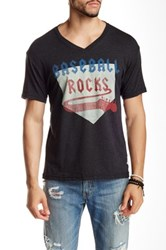 7Th Inning Stretch Baseball Rocks V Neck Tee Black