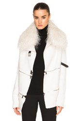 Barbara Bui Zip Cardigan With Mongolian Lamb Fur Collar In White