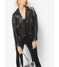 Studded Leather Moto Jacket Black