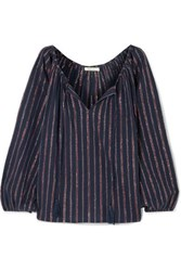 Mes Demoiselles Elize Lyrical Metallic Striped Cotton Blend Blouse Midnight Blue
