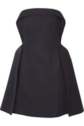 Delpozo Strapless Cotton Blend Mini Dress Blue