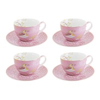 Pip Studio Early Bird Cappuccino Cup And Saucer Set Of 4 Pink