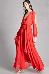 Forever 21 Chiffon Surplice Maxi Dress Red