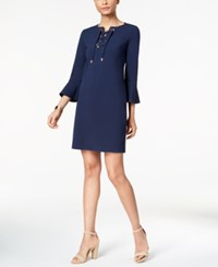 Charter Club Petite Lace Up Shift Dress Created For Macy's Intrepid Blue