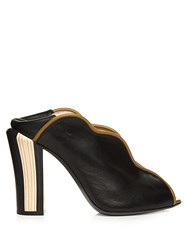 Fendi Wave Foldable Heel Leather Pumps Black Multi