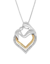 Lord And Taylor Diamond Two Tone Mother Baby Pendant Necklace Sterling Silver