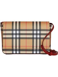Burberry Vintage Check And Leather Wallet With Detachable Strap Brown