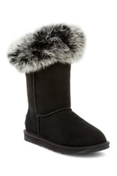 Australia Luxe Collective Foxy Short Hidden Wedge Genuine Fox Fur And Shearling Boot Black