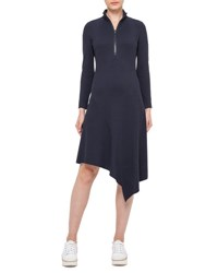 Akris Punto Long Sleeve Half Zip Asymmetric Dress Deep Blue