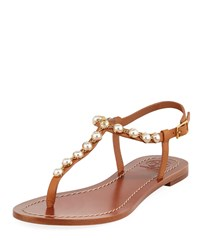 Tory Burch Emmy Pearly Beaded Flat Sandals Tan