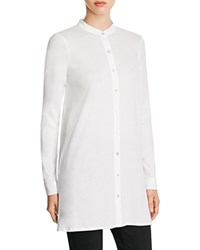 Eileen Fisher Organic Cotton Mandarin Collar Tunic White
