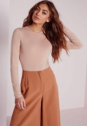 Missguided Petite Nude Jersey Long Sleeve Crew Neck Bodysuit