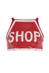 Moschino Sequin Crop Top Red